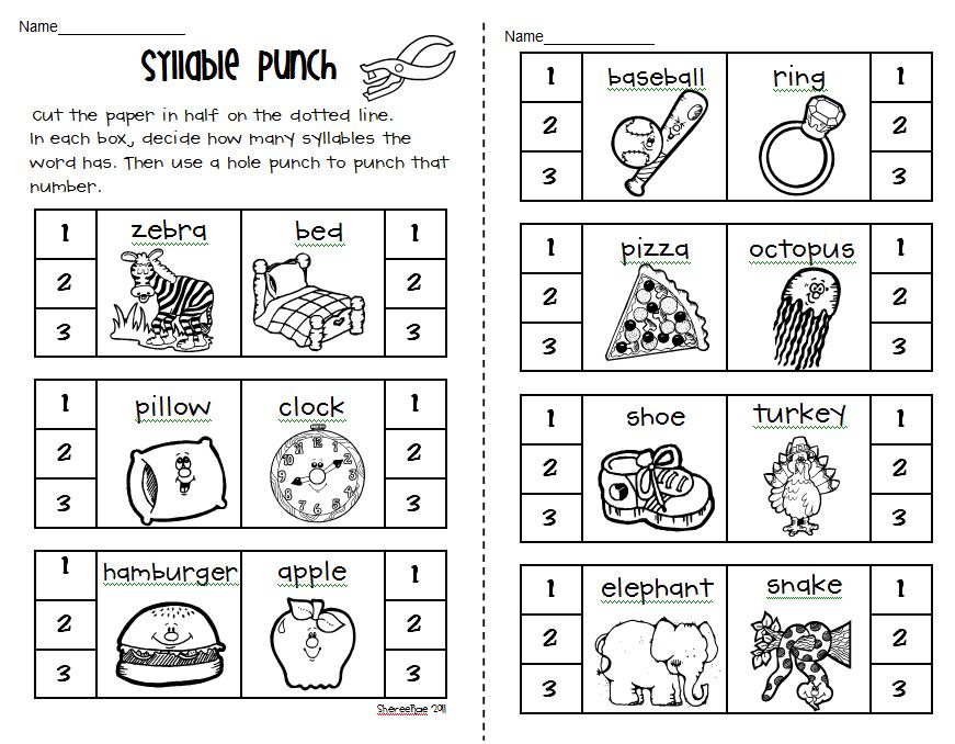 Kindergarten Syllable Worksheets Free Worksheets Library ...