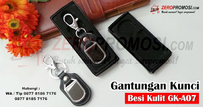 Gantungan Kunci Kulit KeyChain, Metal Stainless Steel Gantungan Kunci Kode GK-A07, Souvenir Gantungan Kunci Besi Kombinasi Kulit Kode GK-A07