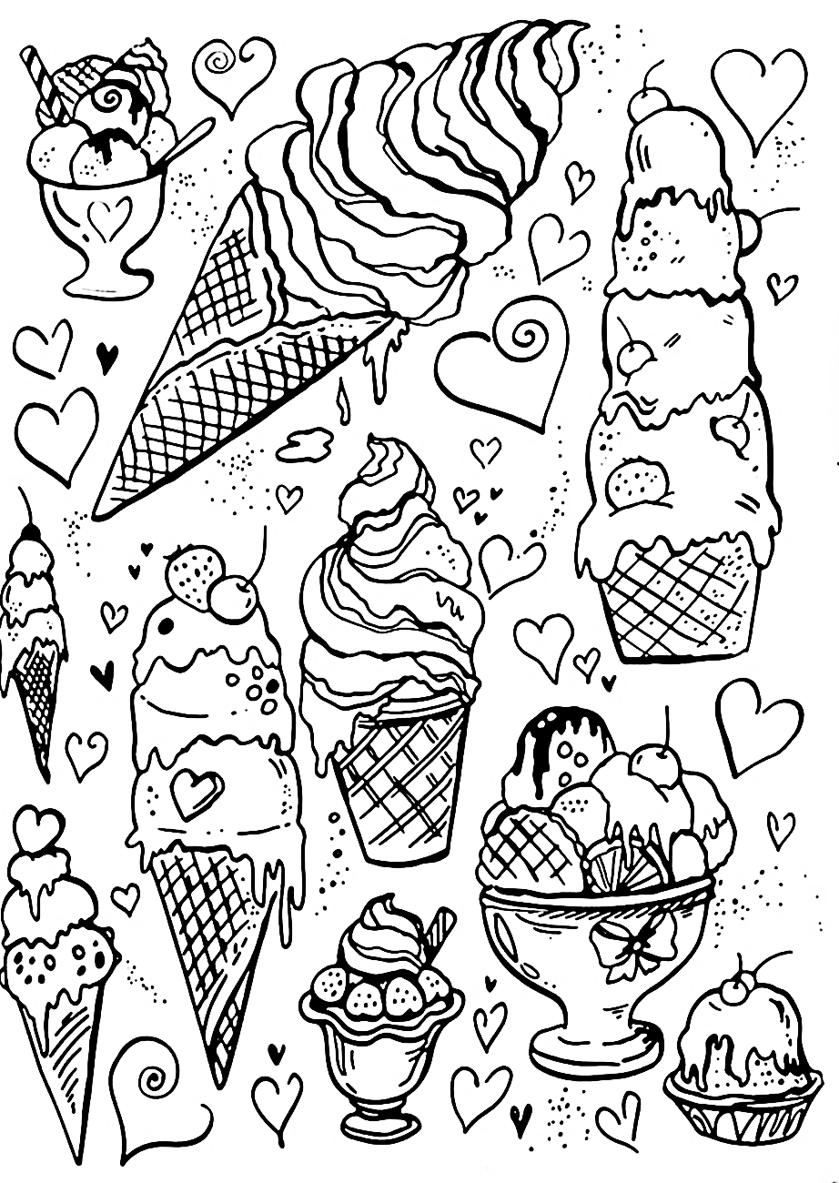 Riscos graciosos cute drawings cupcakes sorvetes e for Coloring pages of ice cream