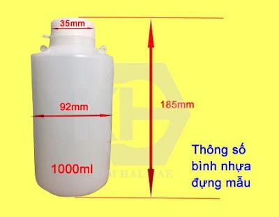 Lọ nhựa đựng mẫu có lỗ xỏ niêm phong 1L