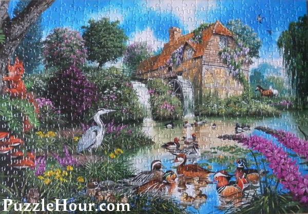 The old watermill jigsaw puzzle by John Francis artist water mill pond puzzles jigsaws 500 pieces heron birds wildlife
