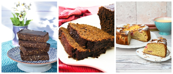 Scottish bakes - tiffin, gingerbread and rhubarb and custard cake