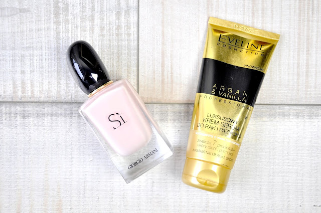 perfumy giorgio armani si fiori, luksusowy krem-serum do rąk i paznokci eveline argan&vanilla