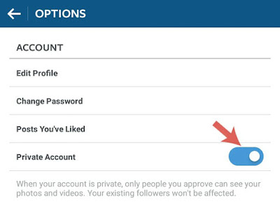 Enable private account button
