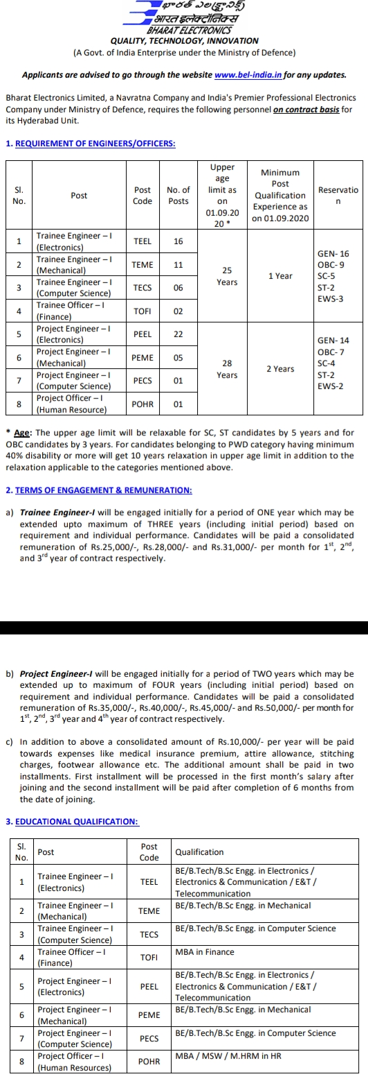 www.bel-india.com recruitment 2020  bel recruitment 2020 for engineers freshers  bel recruitment exam  bel recruitment through gate 2020  bel recruitment for ex servicemen  bel project engineer recruitment 2020  bel bangalore  bel apprenticeship 2020 Bangalore,Jobs, jobs in Hyderabad, BEL Recruitment, Engineer Jobs, Technician Jobs,