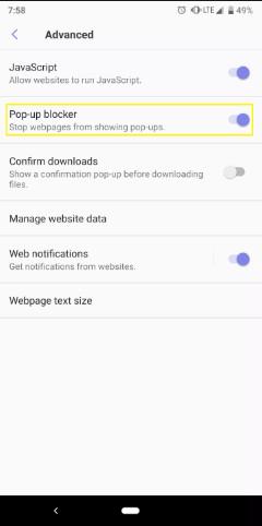 كيفية إيقاف الإعلانات المنبثقة على هواتف android