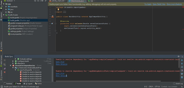 Penyebab error dependency di android studio