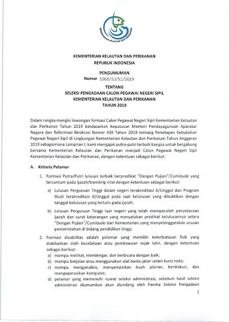 Pengadaan CPNS Kementerian Kelautan dan Perikanan Tahun 2019