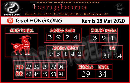 Prediksi Togel Hongkong Kamis 28 Mei 2020 - Bang Bona