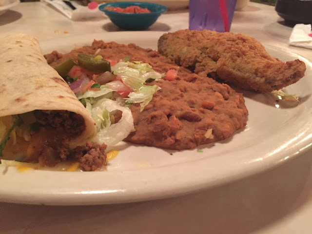 Chile Rellenos, Refried Beans and a Soft Taco at Chuy's