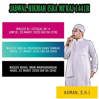 Jadwal Hikmah Isra Mir'aj 1441 H Bersama Ustadz Arman Aryadi, S.Hi di Masjid-Masjid Kota Tarakan - Kajian Islam Tarakan