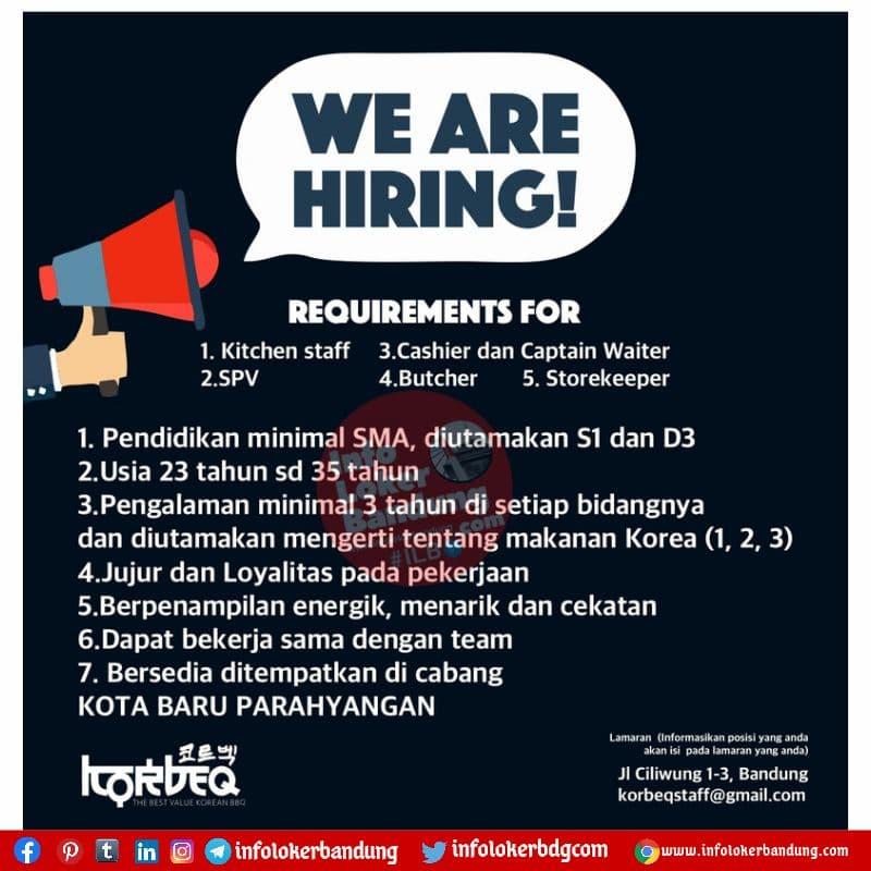 Lowongan Kerja Korbeq Bandung Agustus 2021