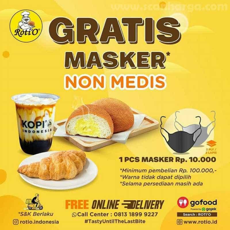 Promo Roti 'O Gratis Masker Non Medis Hingga 31 Juli 2020