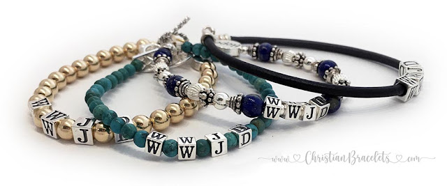WWJD Gold Turquoise Lapis Lazuli and Leather WWJD Bracelets