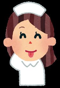 女性看護師の表情のイラスト(照れ)