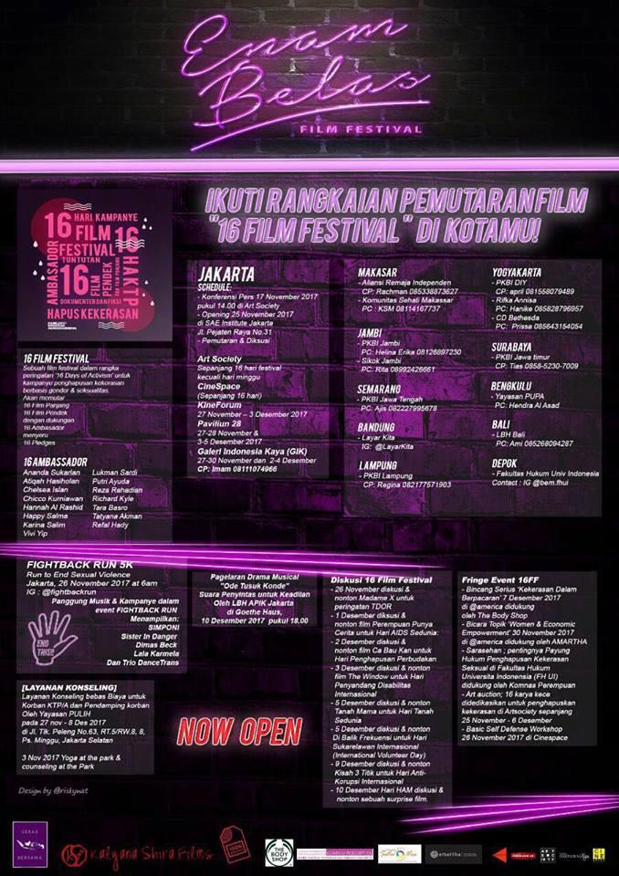 Jadwal Pemutaran 16 Film Festival Hentikan Kekerasan Perempuan