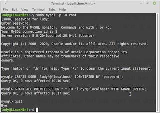 proses pembuatan user di mysql melalui terminal linux mint