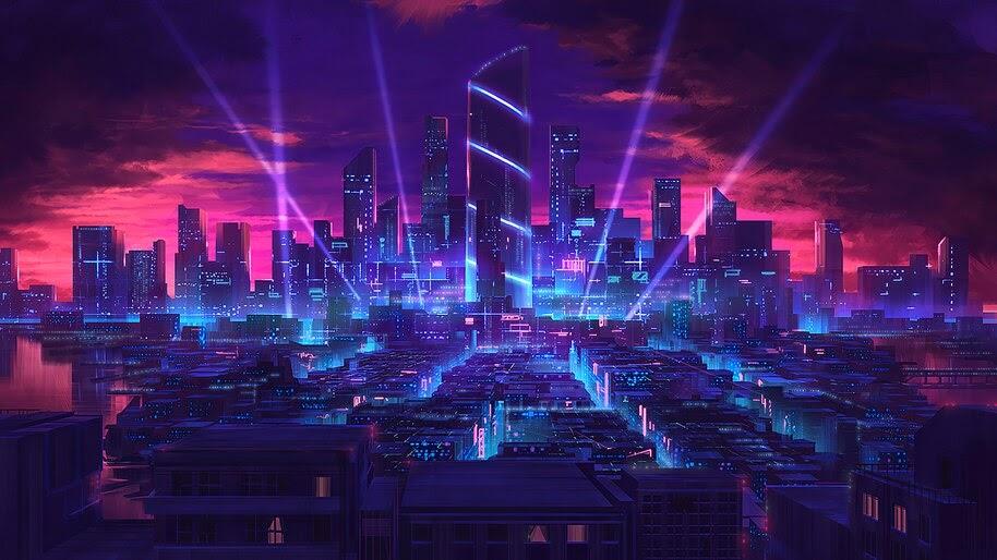 Sci Fi Night City Digital Art 4k Wallpaper 41975