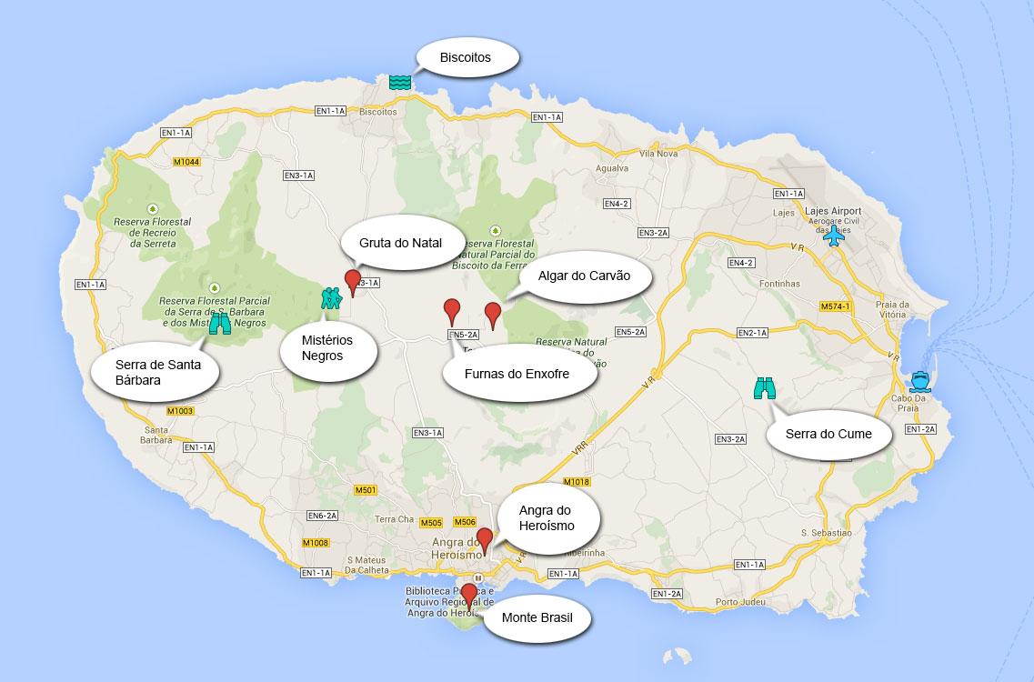Mapa do que visitar na ilha Terceira