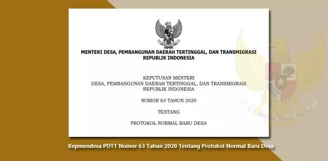 Kepmendesa PDTT Nomor 63 Tahun 2020 Tentang Protokol Normal Baru Desa