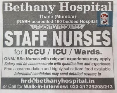 Urgently Required Staff Nurses to Bethany Hospital, Thane, Mumbai
