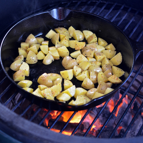 Skillet potatoes on the Big Green Egg