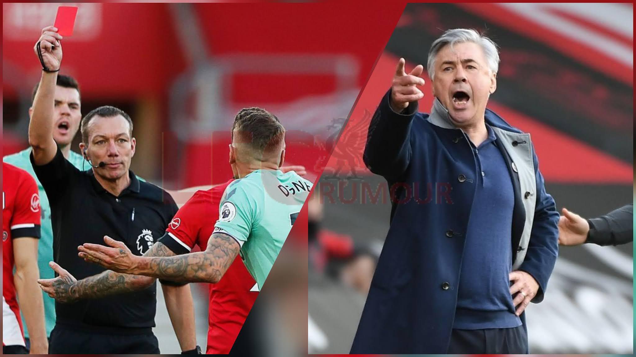 Carlo Ancelotti blasts referee red card decision in Southampton's 2-0 win over Everton.