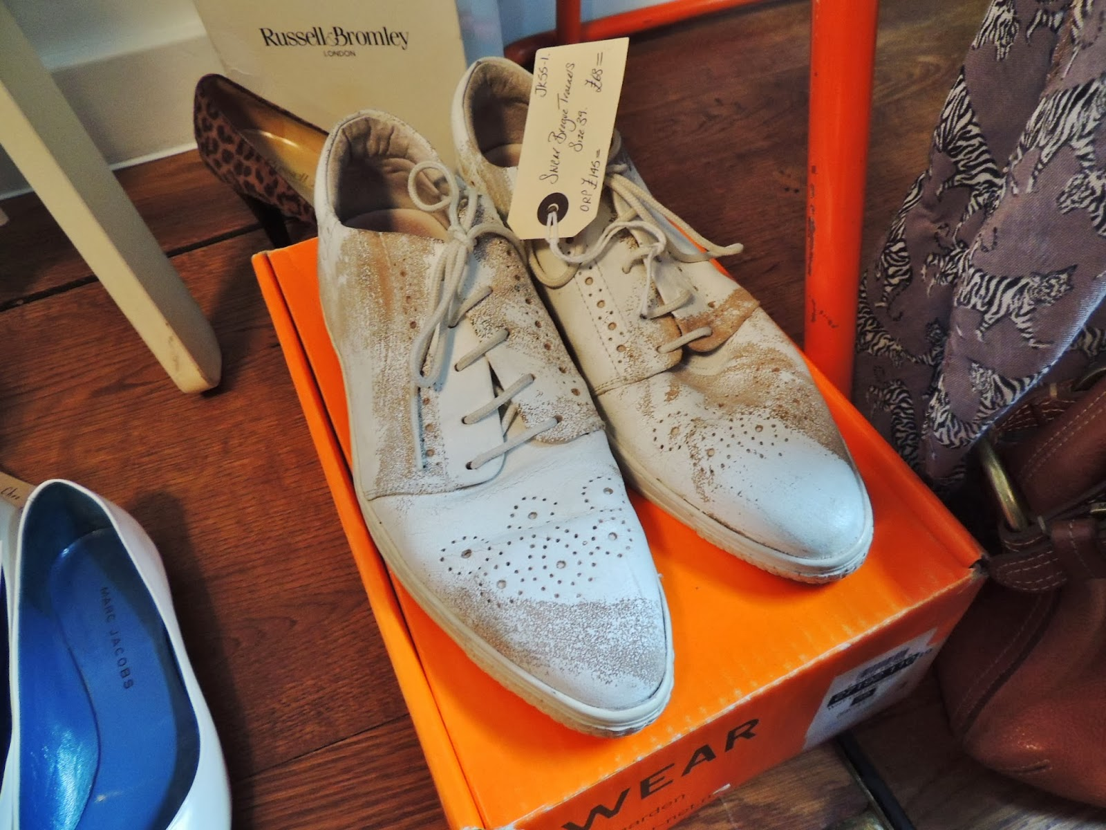 White brogue sneakers