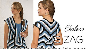 Chaleco con detalles en zig zag / Patrones Ganchillo