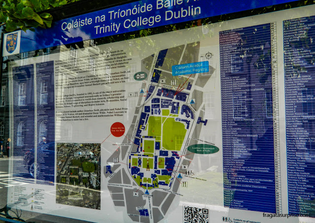 Mapa do Campus do Trinity College, no Centro de Dublin