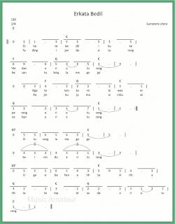 not angka lagu erkata bedil lagu daerah sumatera utara