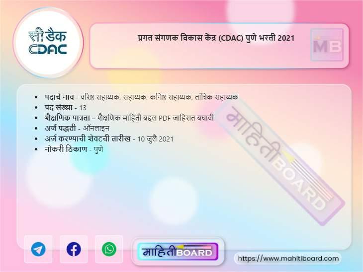 CDAC Pune Bharti 2021