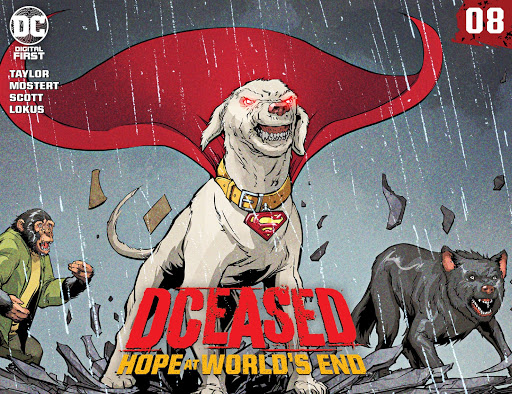 DCeased: Hope At World's End #8 cover featuring Bobo the Detective Chimp and Krypto