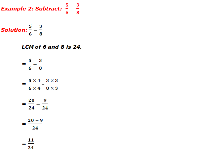 Example 2: Subtraction of fractions
