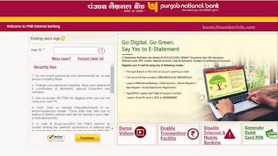 PNB Net Banking Website