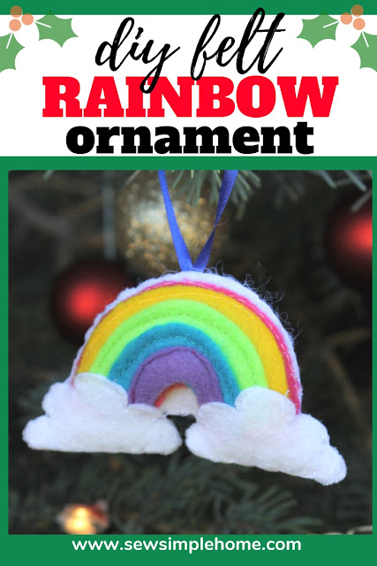 Stitch up your own rainbow felt ornament with this free svg cut file and PDF sewing pattern.