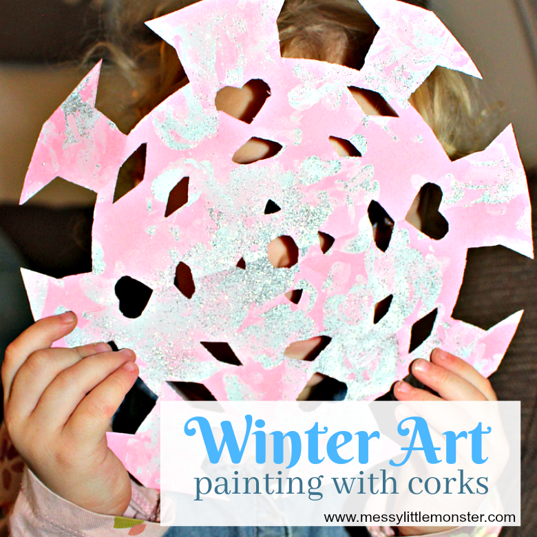 Painting with corks snow art for kids