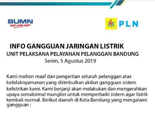 Jadwal pemadaman listrik Kota Bandung 5 Agustus 2019
