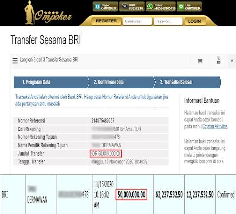 Selamat Kepada Member Setia Ompoker WD Rp 50.000.000,-