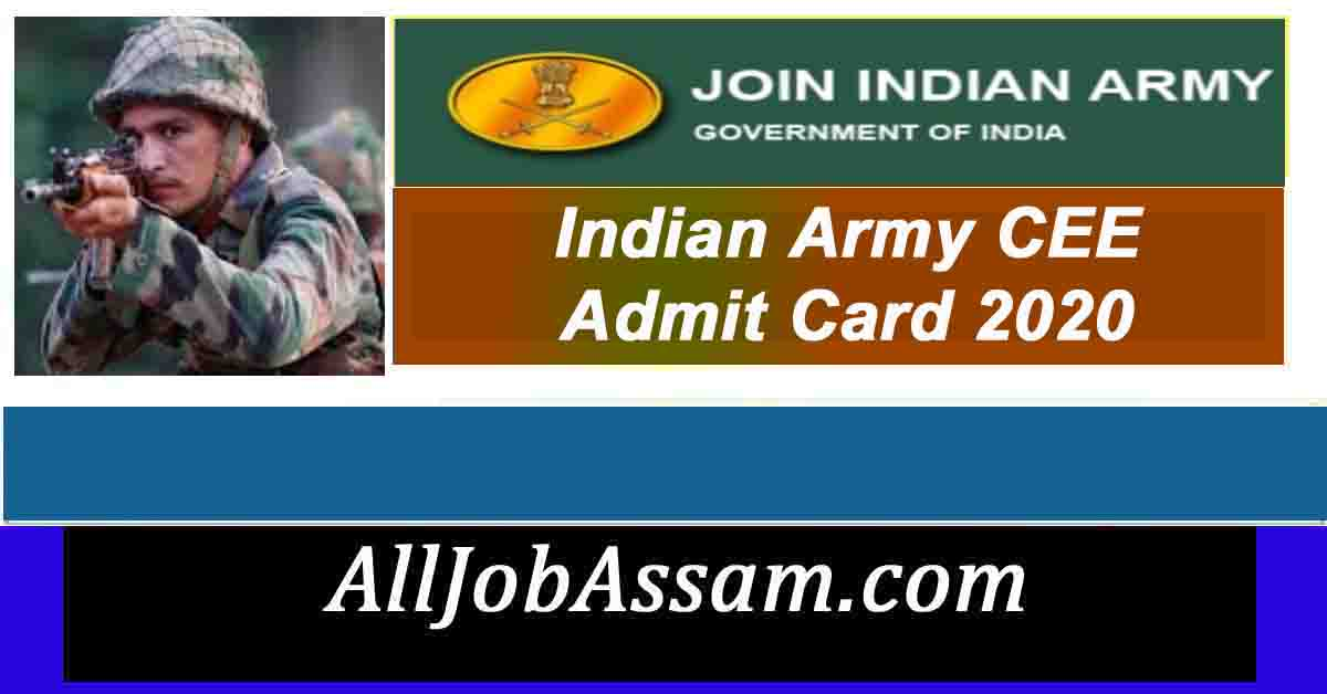 Indian Army CEE Admit Card 2020