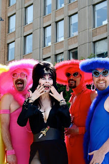 Elvira celebrates Pride Month with queer guys