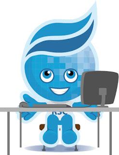 Image of Rio mascot Splash sitting at a desk.