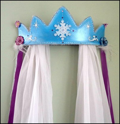Winter Princess Wall Canopy, Baby Crown, Snowflake Wall Crown with Sparkle Curtains, Frozen theme Elsa bedroom - Elsa theme bedroom ideas - princess Disney Frozen - Winter theme decorations -  Frozen room decorating ideas - Disney Frozen themed decor - Queen Elsa Frozen theme bedroom decor  - Disney Frozen bedroom decorating ideas - snow queen bedroom ideas