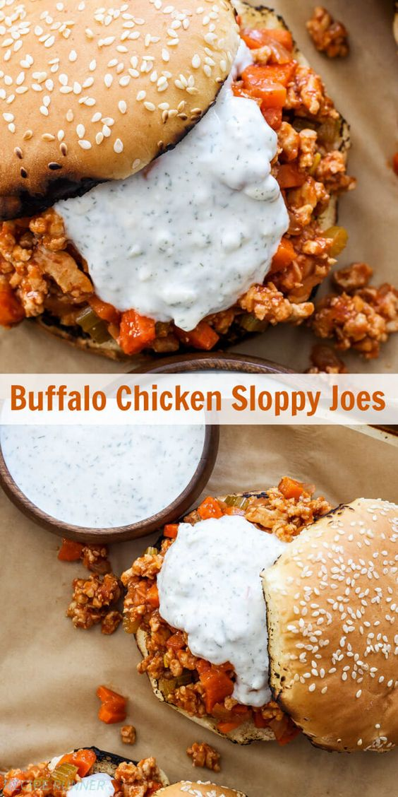 BUFFALO CHICKEN SLOPPY JOES #recipes #foodandrecipes #food #foodporn #healthy #yummy #instafood #foodie #delicious #dinner #breakfast #dessert #yum #lunch #vegan #cake #eatclean #homemade #diet #healthyfood #cleaneating #foodstagram