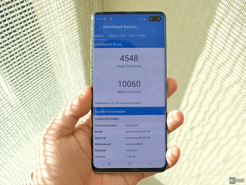The Geekbench scores of the S10+