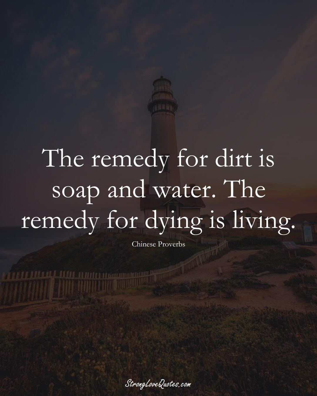 The remedy for dirt is soap and water. The remedy for dying is living. (Chinese Sayings);  #AsianSayings