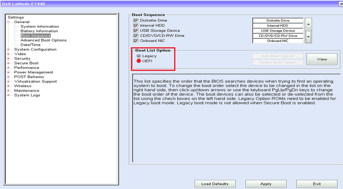 navegación por la configuración de BIOS / UEFI