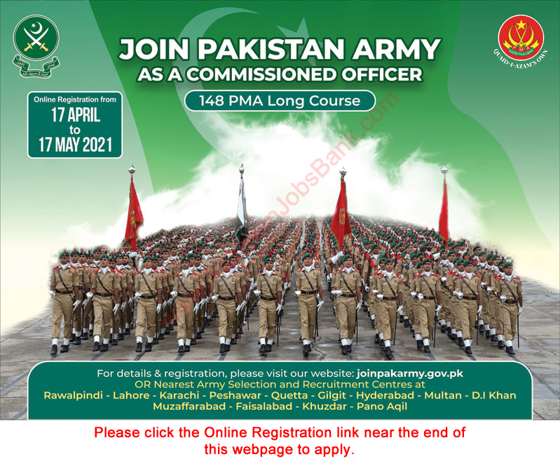 joinpakarmy.gov.pk Jobs 2021 - Pakistan Army as Commissioned Officer through 148 PMA Long Course Jobs 2021 in Pakistan