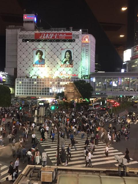 Famous Shibuya crossing at night
