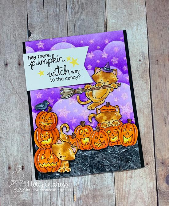 Newton's Nook Designs & Therm O Web Inspiration Week - Halloween card by Holly Endress | Newton's Boo-tiful Night Stamp Set, Starfield and Clouds Stencils by Newton's Nook Designs | Deco Foil Metallix Gel and Glitz Glitter Gel by Therm O Web #newtonsnook #thermoweb